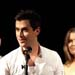 Bobby Fox, winner Best Actor in a Muscial for Jersey Boys with presenters Adam Garcia and Pippa Grandison